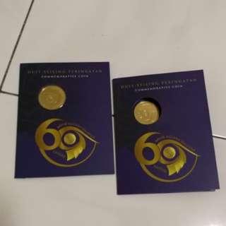 RM1 Duit Syiling Peringatan - Sambutan Ulang Tahun ke-60 Arkib Negara Malaysia (2 set)