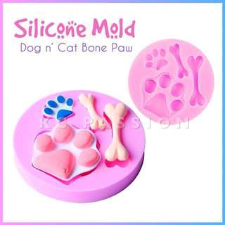 🐾 DOG n' CAT BONE • PAW SILICONE MOLD TOOL for Pastry • Chocolate • Fondant • Gum Paste • Candy Melts • Jelly • Gummies • Agar Agar • Ice • Resin • Polymer Clay Craft Art • Candle Wax • Soap Mold • Chalk • Crayon Mould •