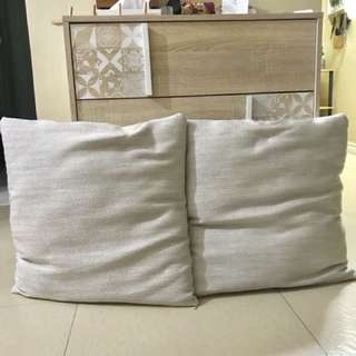 22 inch by 22 inch Beige Throw Pillows