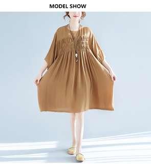 🚚 2018韓版文藝外貿大碼女裝夏洋裝 胖mm顯瘦收腰遮肚連衣裙