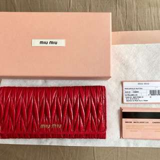 有收據 miu miu 銀包 Wallet 100% Real 100% New (5MH109, Cherry)
