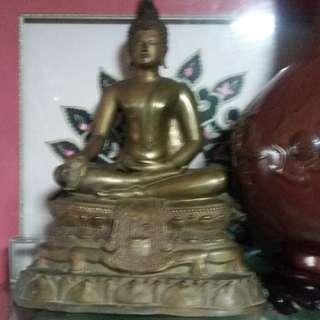Vintage Thailand Bronze Buddha Sitting Posture Statue ( 2502 )佛历2502年泰国铜雕塑坐姿佛祖像