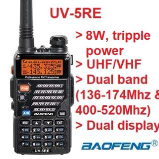 👍8W👍 hi power (tri-power) version Baofeng UV-5RE Ham Radio Dual Band Two-way Radio transceiver 128CH UHF VHF Portable Radio  136-174MHz&400-520MHz