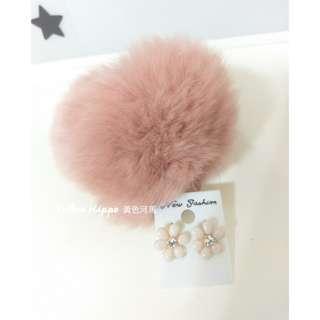 🚚 ✈(現貨實拍)Pink Pink__糖果粉花花亮鑽抗敏耳環