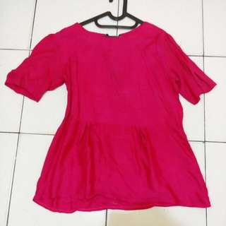 Blouse Shocking Pink Fit to L Kecil