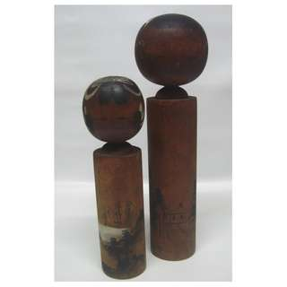 2 Japanese Wooden Kokeshi Dolls Dark Brown Wood