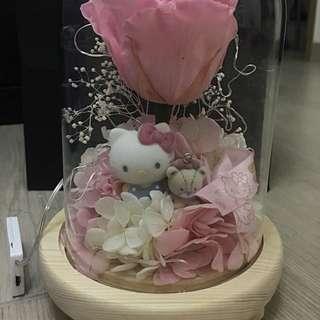 情人節禮物 情人節花束 Hello Kitty 玫瑰保鮮花 永生花 有燈 玻璃罩