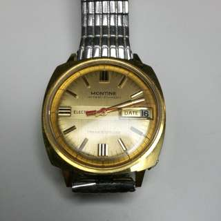 (Collector item) 1970s Rare Vintage Montine INTER-CHRON ELECTRONIC TRANSISTORIZED SWISS GENTS WATCH