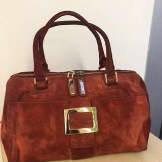 Roger Vivier suede red bag