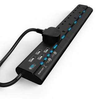 Lexuma - 6 個頭+ USB 拖板 黑色 / 白色