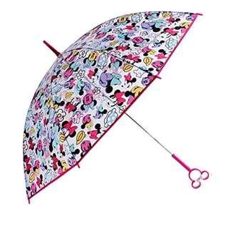 迪士尼 - 米妮造型手柄長透明雨傘 60cm -繽紛Minnie圖案