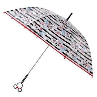 迪士尼 - 米妮造型手柄長透明雨傘 60cm -黑色手柄及MINNIE繽紛圖案