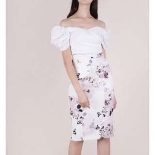 Marco Pencil Skirt (White Florals)