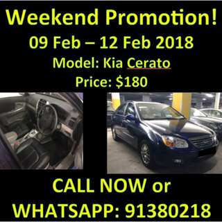 $180 Kia Cerato 9-12 Feb Weekend