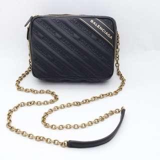 靚價💓BALENCIAGA 黑色羊皮金鍊相機包 BLANKET REPORTER XS Small embossed matelassé bag with chain strap #全新