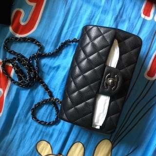 Chanel classic 20cm 黑牛古銅扣