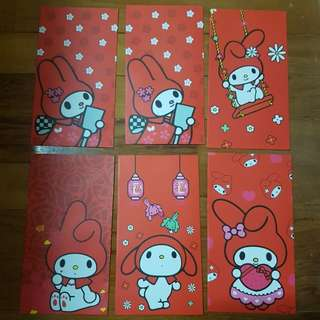 In stock my melody ang pao red packet pack of 6   Big size -  can fit $50 without folding.