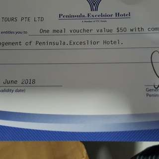 Peninsula meal voucher for 1 pax