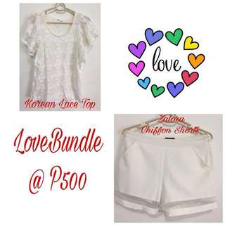 LOVE BUNDLE Korean Lace Top with Zalora Chiffon Shorts
