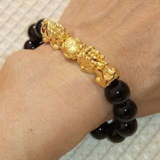 12mm Black Tourmaline with A Pair of Gold Plated Pixiu and S990 Silver Money Ball