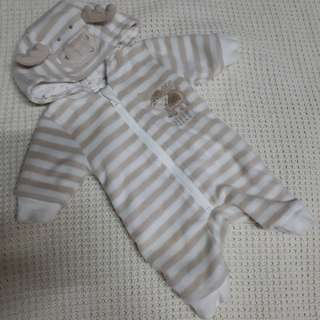 newborn over all hooded onesie reversible