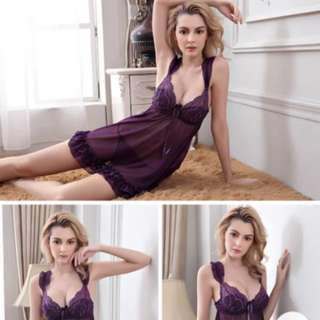 性感睡衣 連身裙 sexy lace dress purple 情人節 valentine 蕾絲