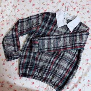 文青 假領格紋針織衣