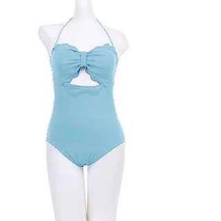淺藍 韓國 連身 泳衣 Bikini Swim Suit