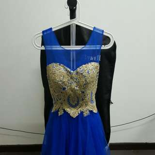navy gold accents dress
