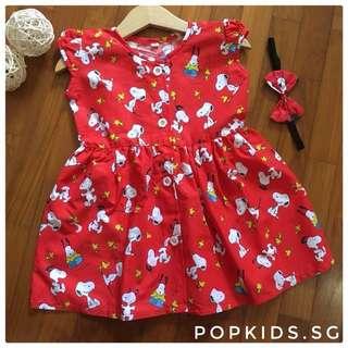 🎀INSTOCK - Red Snoopy Dress + Headband 🎀