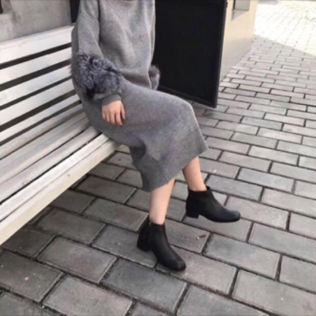 [2手]方頭低跟簡約短靴
