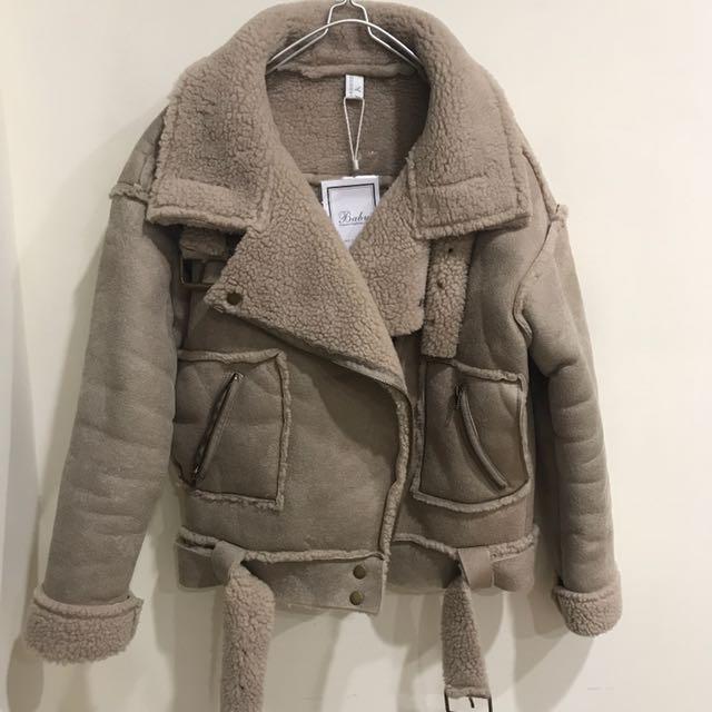 羔羊毛騎士風保暖外套
