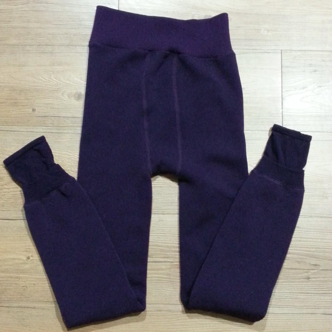 日牌紫色過冬內毛絨褲襪