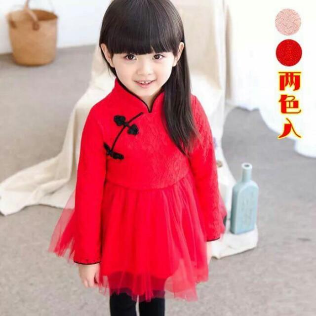 【現貨】女童改良式旗袍紗裙(紅色)