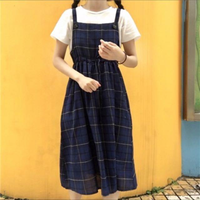 中長款格子高腰連身吊帶裙