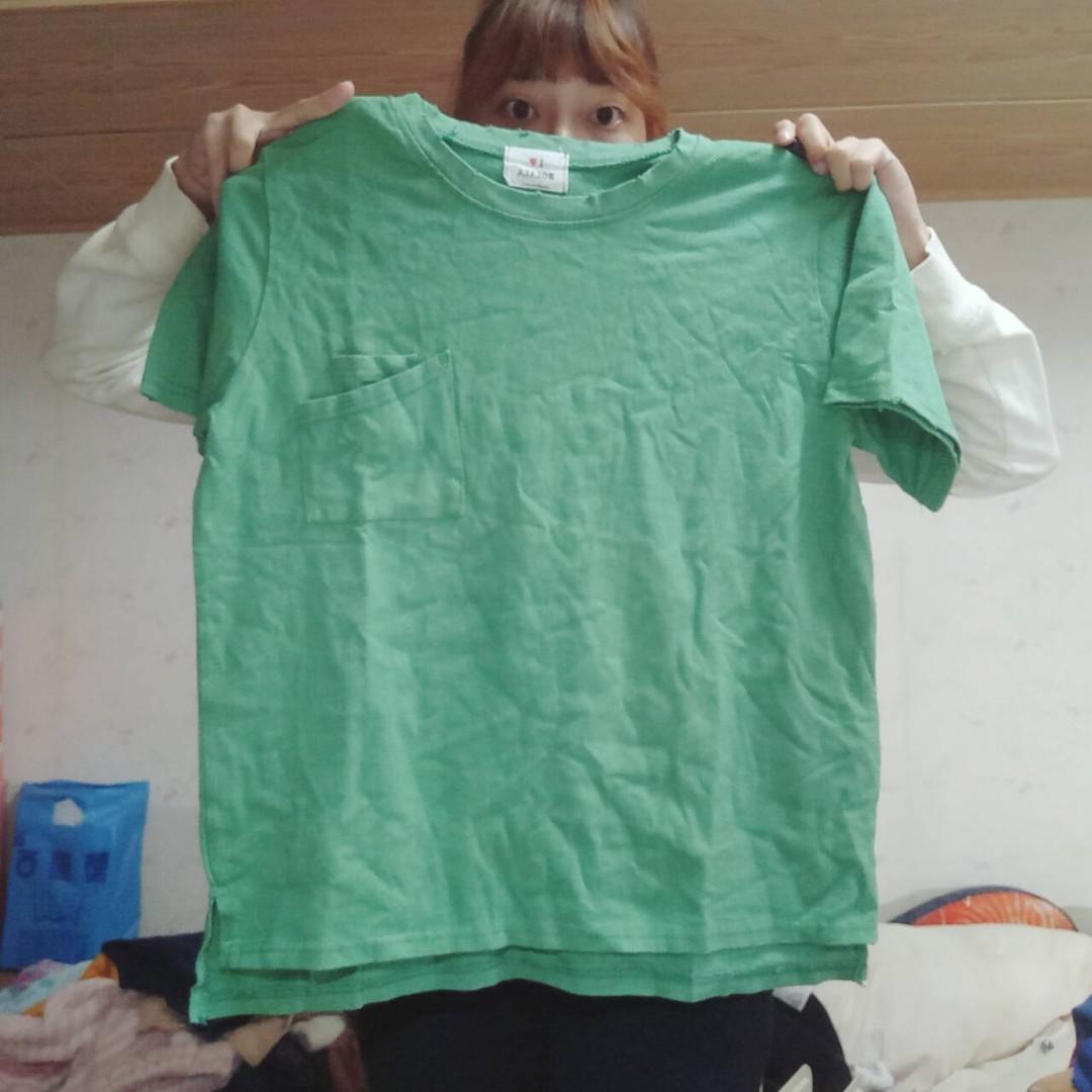 短袖草綠色上衣 #新春八折