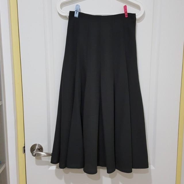 古着灰黑色傘擺狀長裙