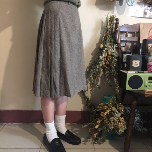 日本製 45r 及膝裙 擺著裙 毛料 古著 復古 45rpm 非無印良品