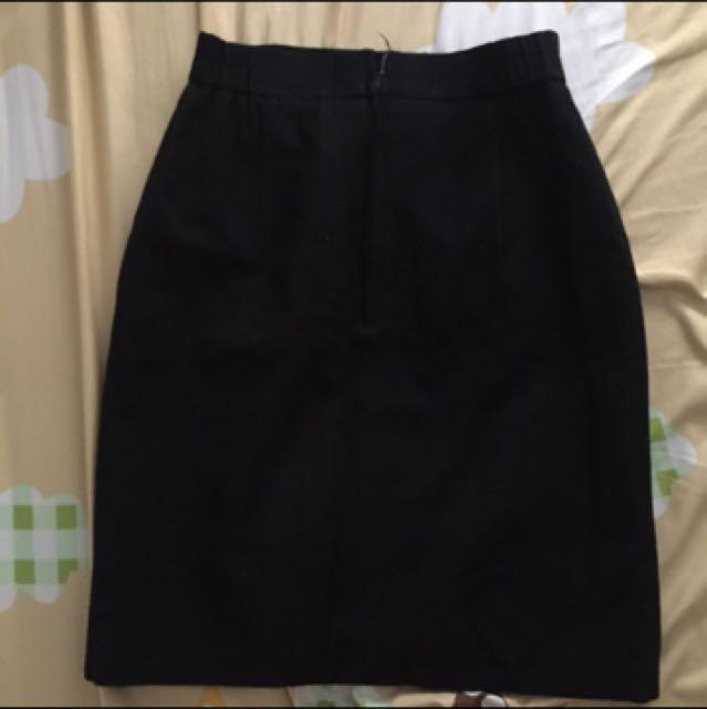 日本製 古著高腰黑色毛料裙