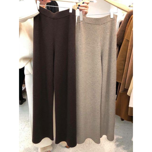 韓國連線 羊毛針織落地褲/羊毛寬褲