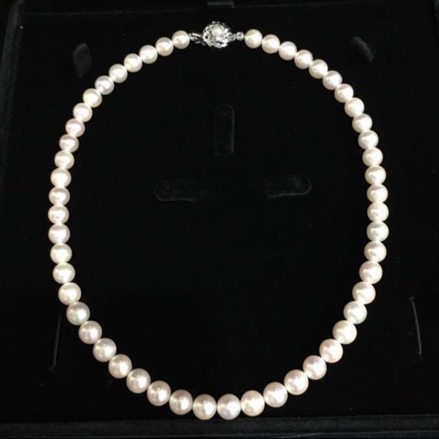 她的美 妳最懂 - 全新 天然養珠鍊 - 7.5 mm 正圓珍珠 皮光優 厚