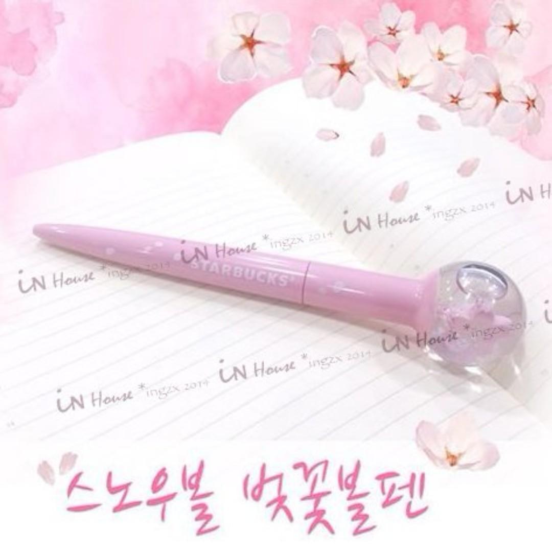 櫻花季  韓國 STARBUCKS 星巴克 絕版 療癒 限量 粉色 立體 2朵 櫻花 原子筆