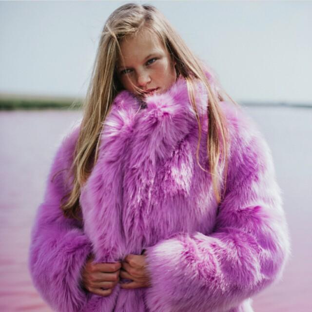 收購 H&M 粉紅色皮草 外套 大衣
