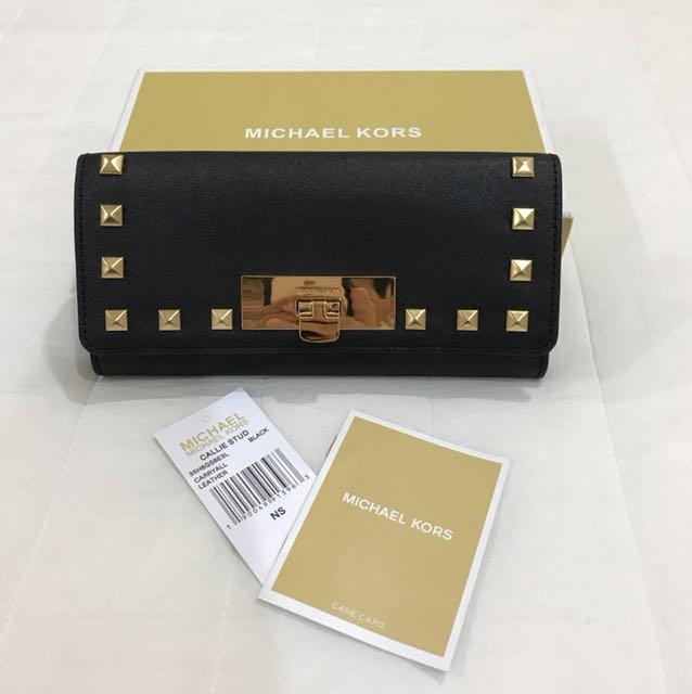 全新品 MK 金色鉚釘鎖扣式長夾 黑色