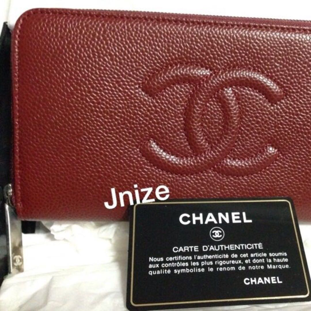 * S A L E *  *FIRM *NEW / UN USE - AUTH CHANEL Timeless CC Caviar Zip around wallet - SHW