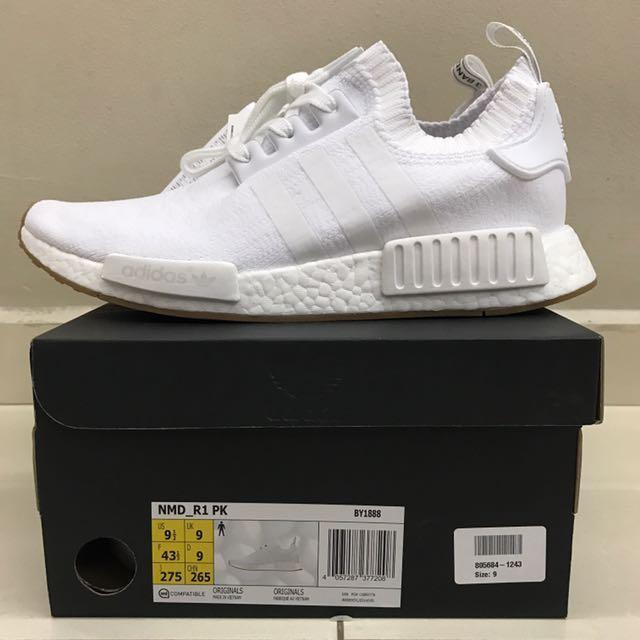 Adidas Nmd R1 Pk White Gum Us 9 5 Uk 9 Men S Fashion Footwear