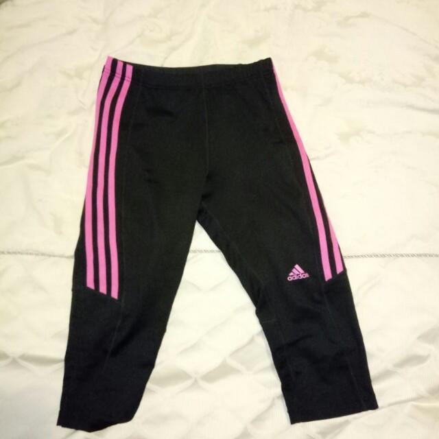 Adidas pink stripe 3/4 leggings