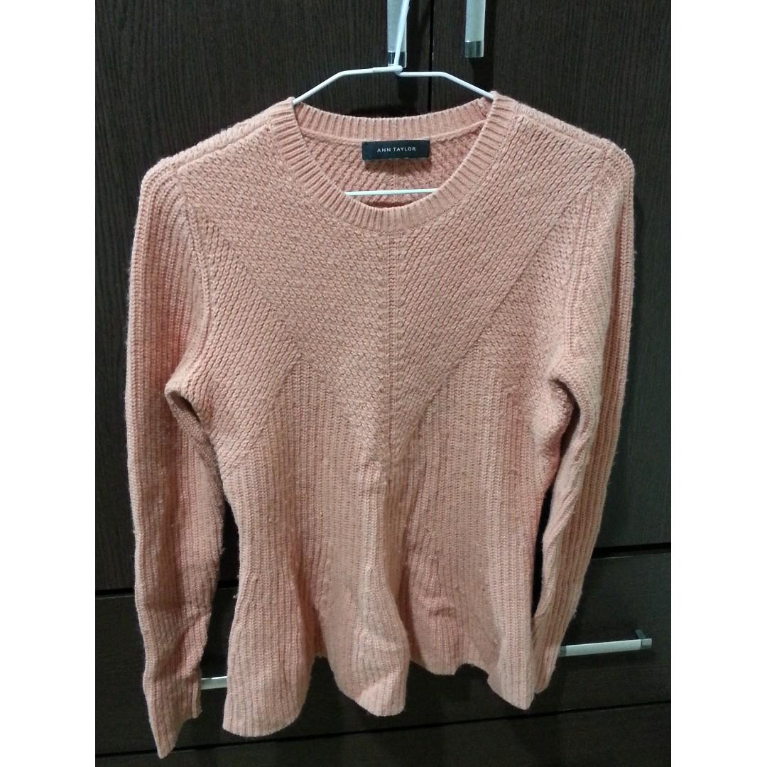 Ann Taylor-粉橘針織毛衣(美國品牌)