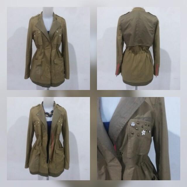 Army parka flower jacket