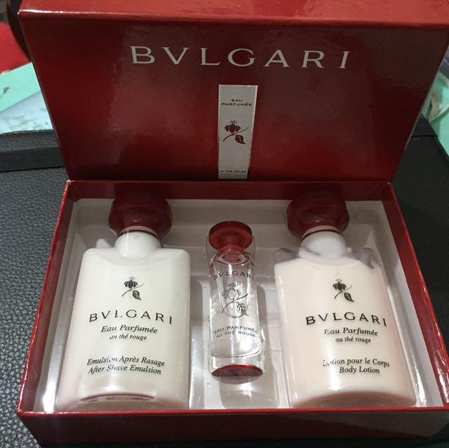 Authentic bvlgari gift set in red tea